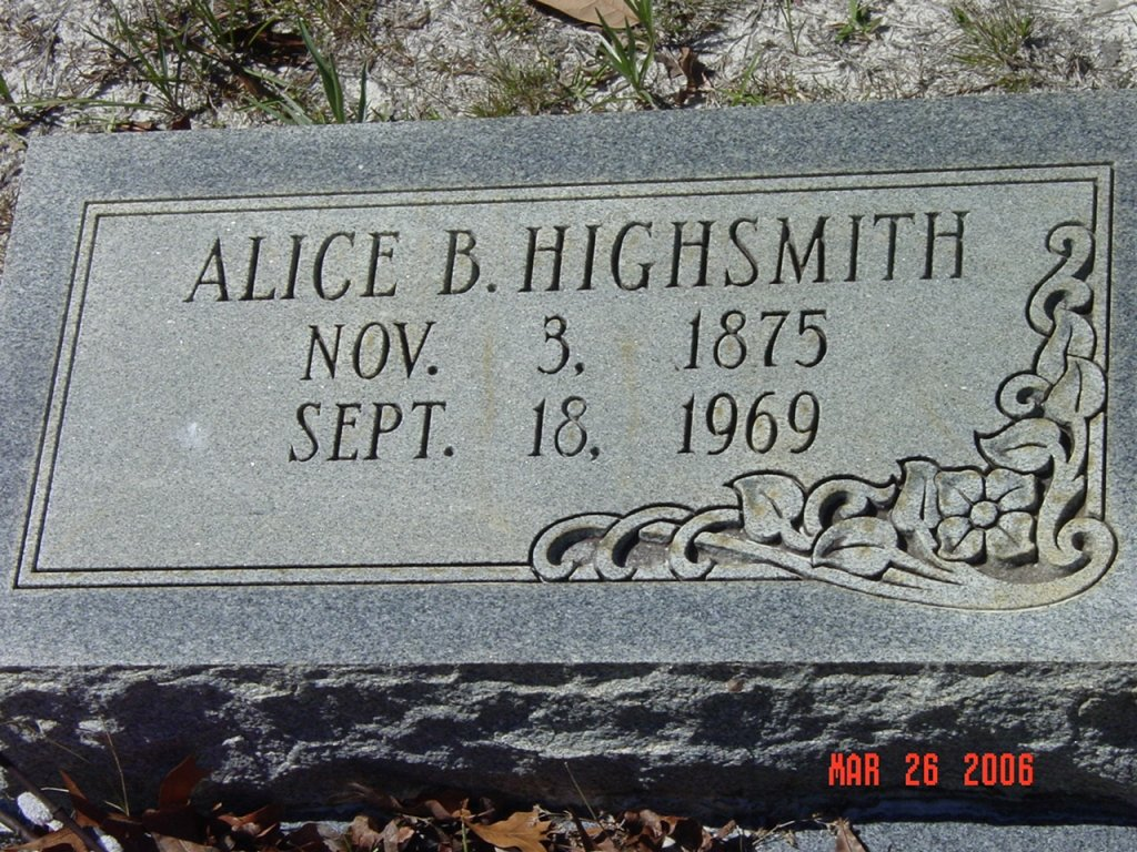 Headstone, Alice Brown