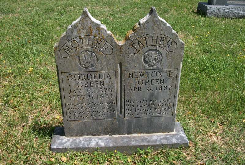 Headstone, Newton L. Green, Mary Cordelia Smith