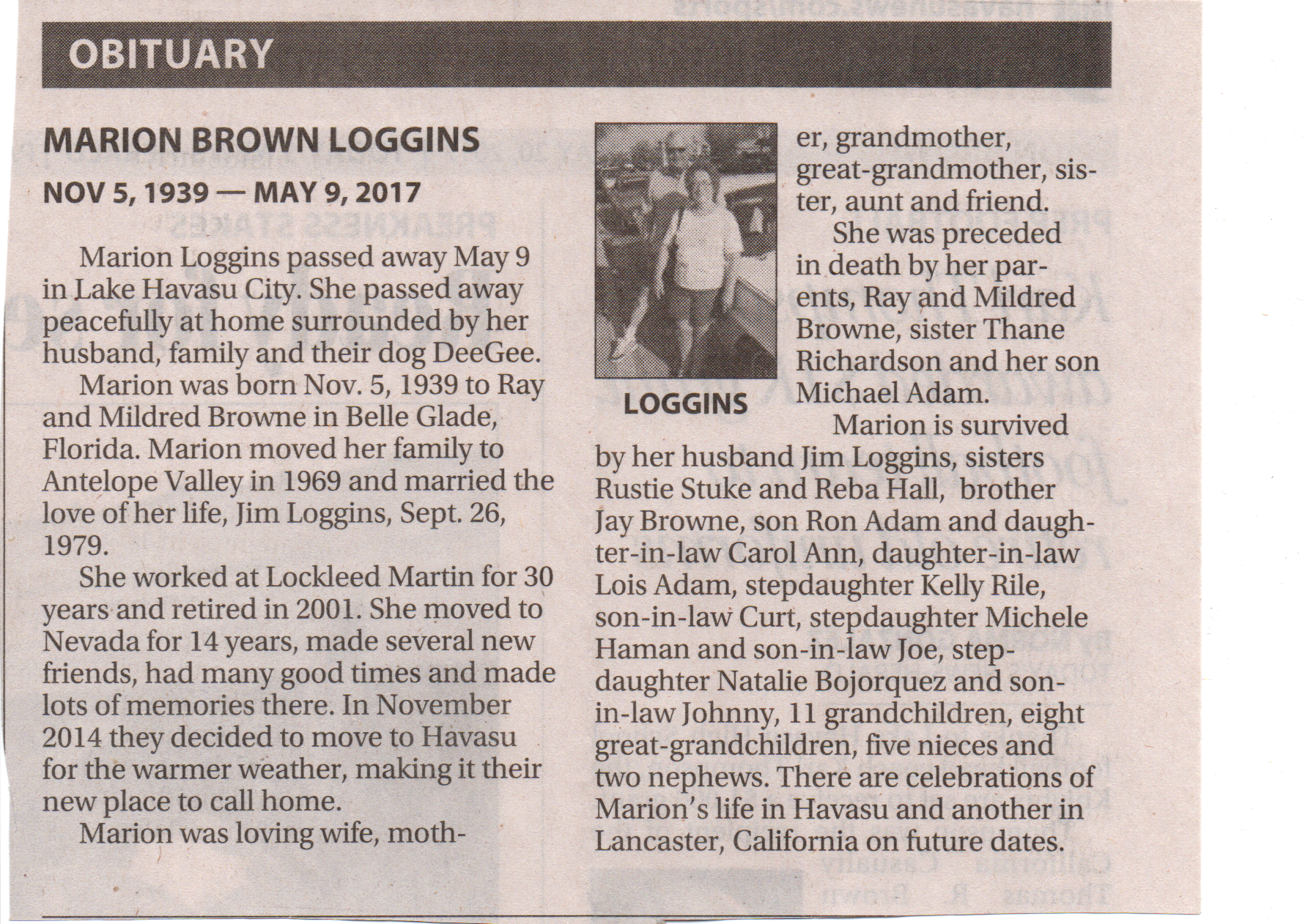 Obituary, Marion Vida Browne